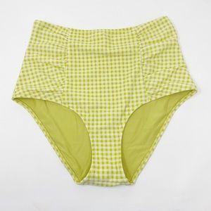 AERIE Gingham Hi Rise Bikini Bottom M Ruched Retro